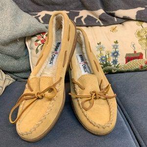 Minnetonka moccasins/shoes, light tan, 7
